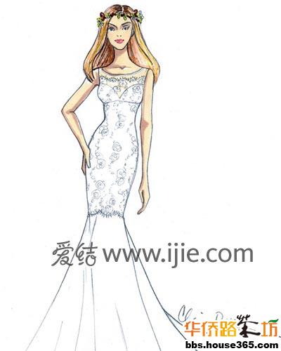 鱼尾裙婚纱设计图手绘