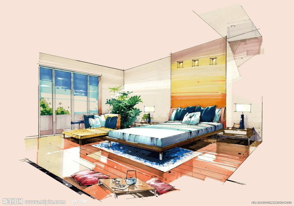肯飞设计:分享手绘室内效果图,用手画出来的室内效果