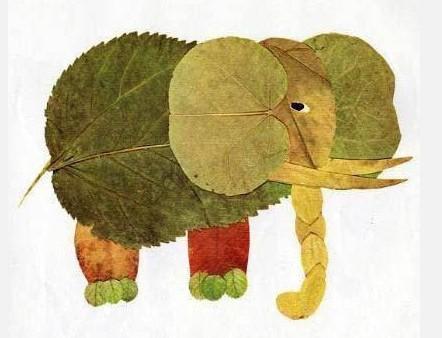 用树叶做粘贴画大象图片 用树叶做粘贴画,用树叶做粘贴画