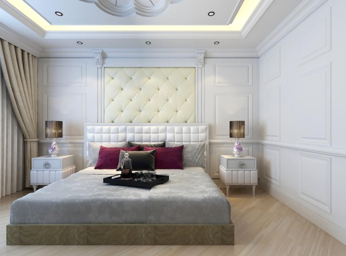 欧式风格卧室护墙板,白色vs苹果木色