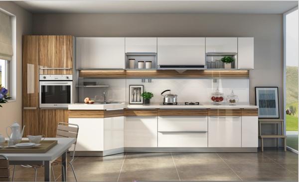 烤漆厨柜效果图图片 不锈钢厨柜装修效果图,免拉手烤漆厨柜