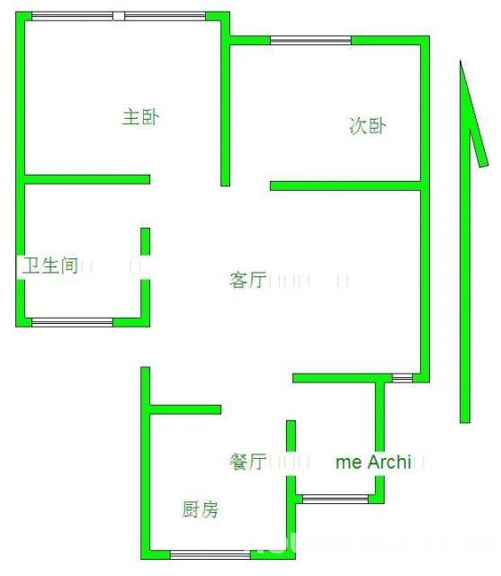浦口区盘城街道盘龙山庄2室2厅户型图
