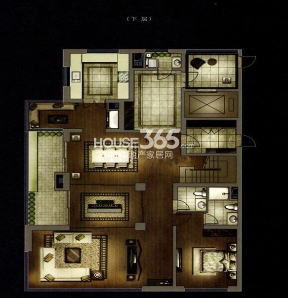 万科大明宫A户型下层4室5厅5卫1厨299.00㎡