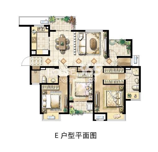 绿地中央广场E户型平面图