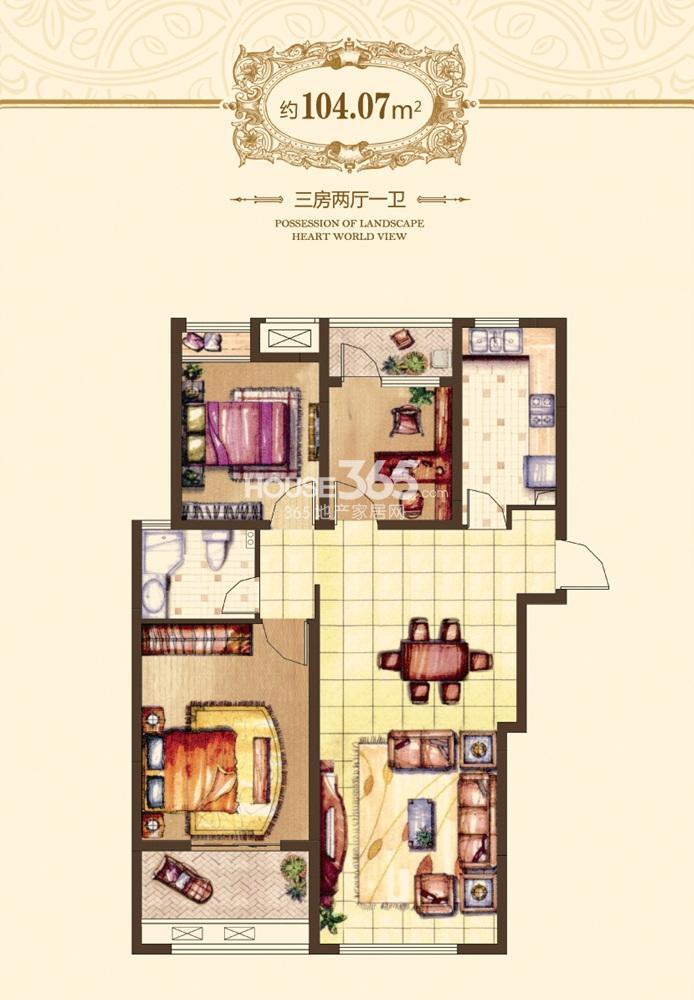 融侨观邸户型图一期55#标准层D104.07平户型(6.19)