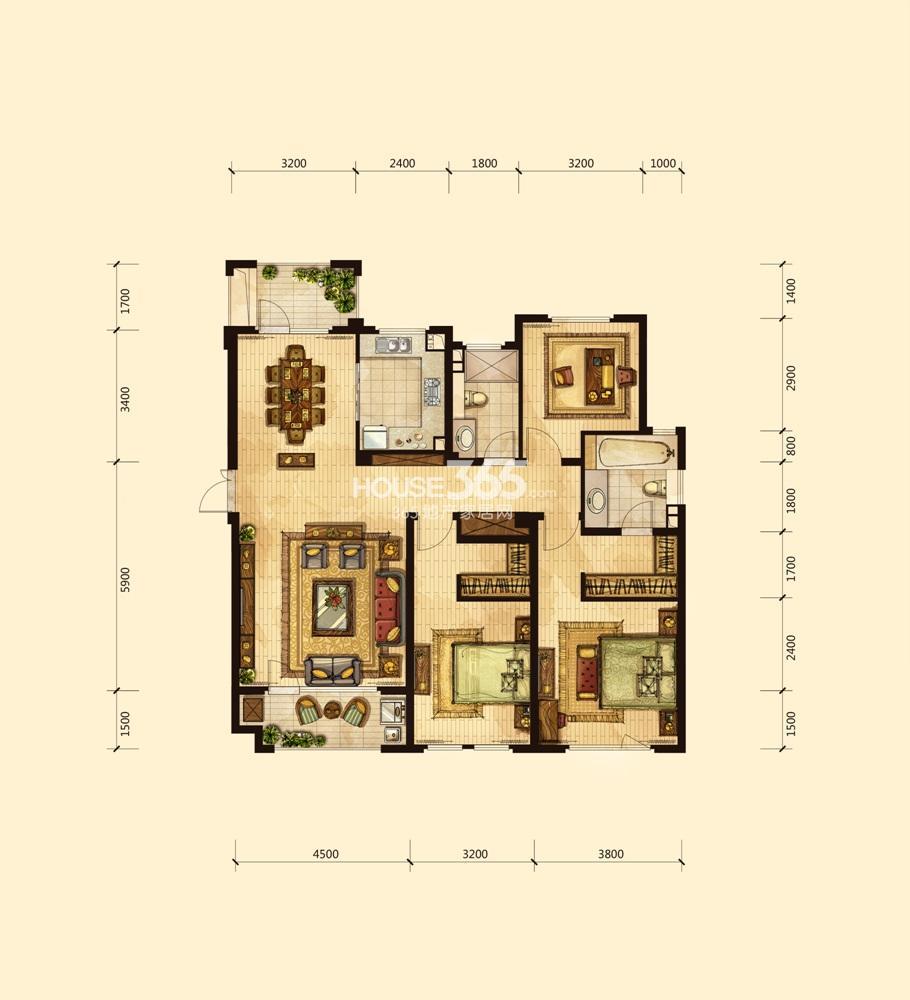 房装修效果图   面积都在11-12平方米,其中一间北卧做成了儿
