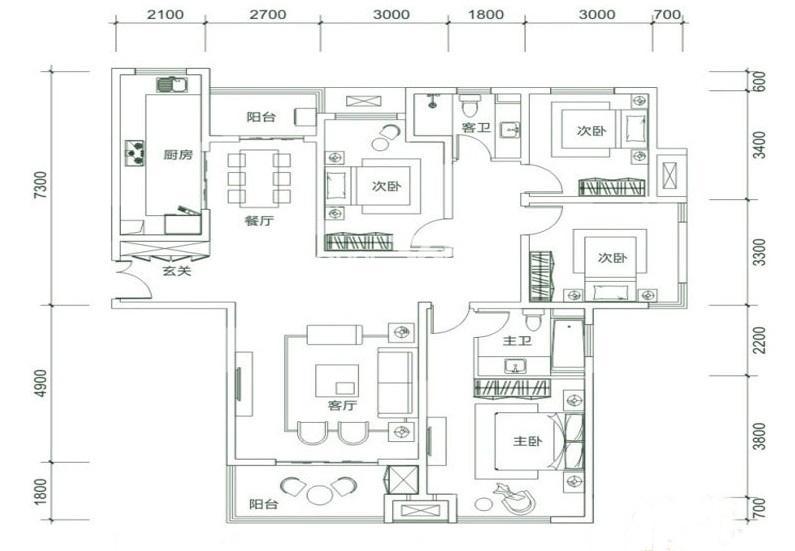 白桦林明天D3户型4室2厅2卫1厨 160.00㎡