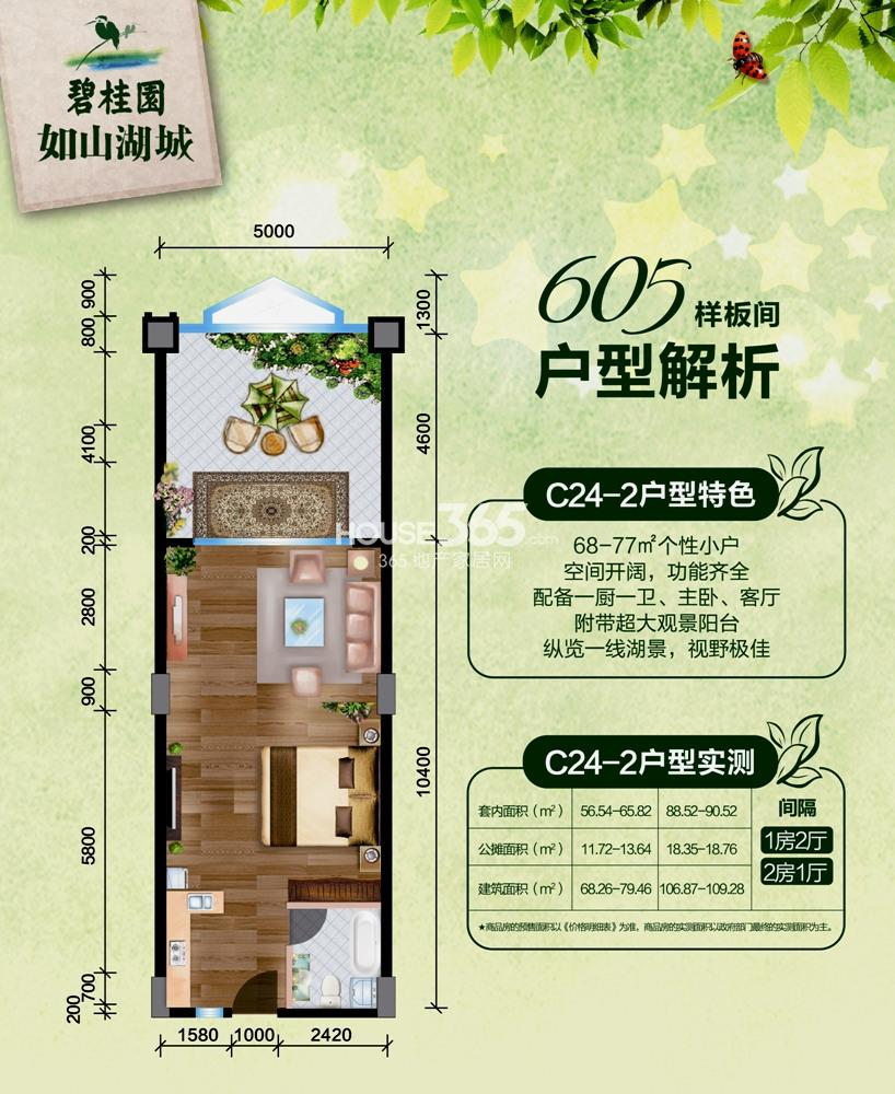 碧桂园如山湖城68-109㎡C24-2户型图