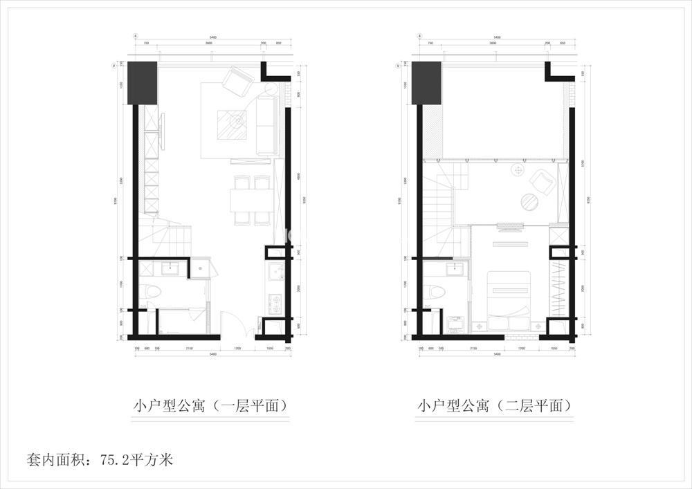 清江苏宁广场75㎡公寓房源户型(10.25)