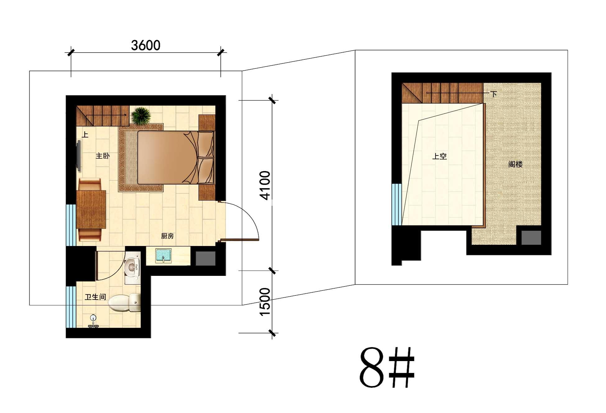 国瑞中心8#户型,25㎡,1室1厨1卫带阁楼