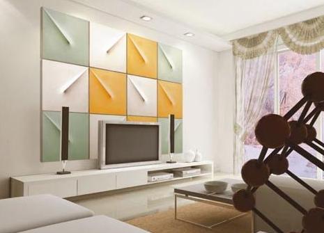 欧式软包电视背景墙:拼接风格背景墙效果