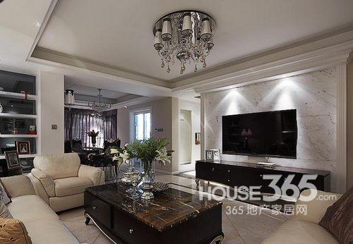 110平米房子装修:欧式石纹电视背景墙设计