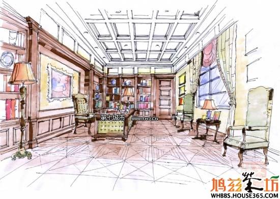 书房设计手绘效果图