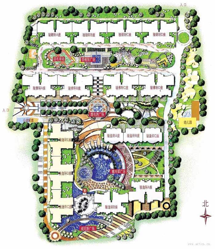 城市规则式公园手绘平面图