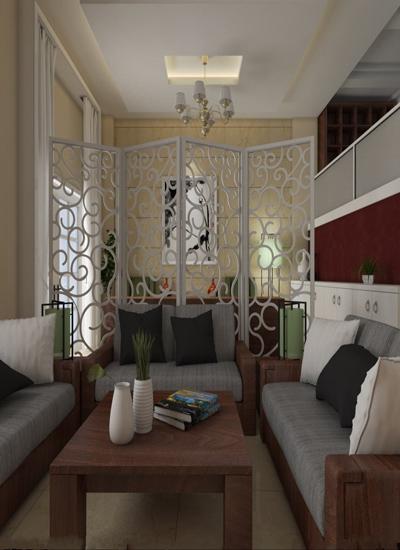 用镂空的屏风作为隔断放置在客厅沙发背后,既能起到隔断的效果,更能让